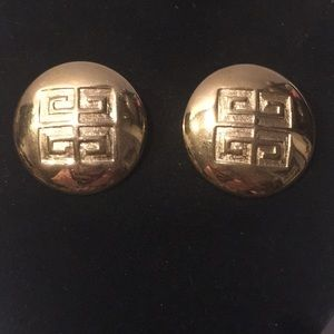 Vintage signed Givenchy signature gold earrings